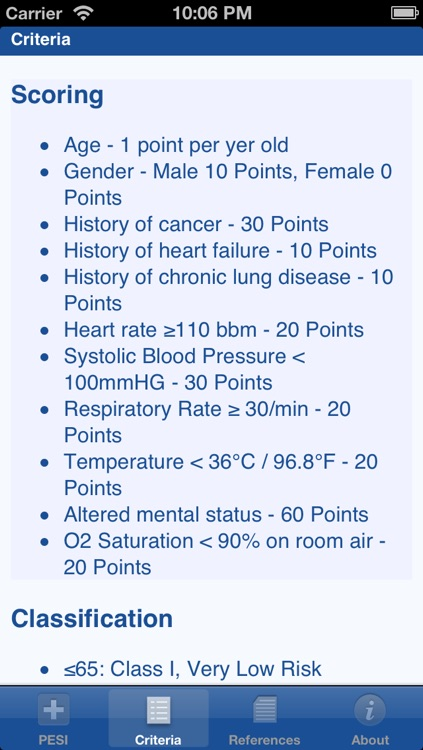 Pulmonary Embolism Severity Index (PESI) screenshot-2
