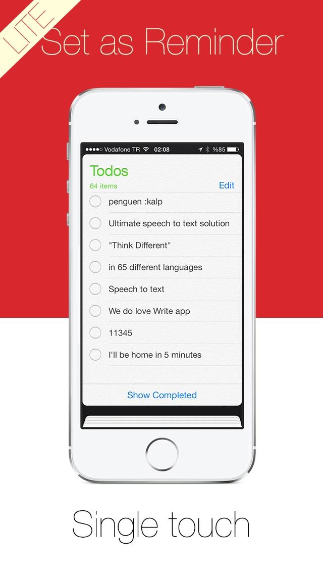 Write Lite -  一鍵式語音到文本聽寫,語音識別,直接短信和電子郵件提醒。屏幕截圖4