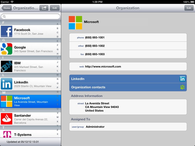 Tenea app for Vtiger CRM (iPad edition)