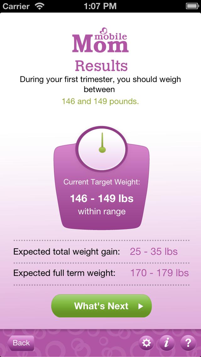 Pregnancy Weight Calculator & Baby Bump Weight Gain from Mobile Mom Screenshot