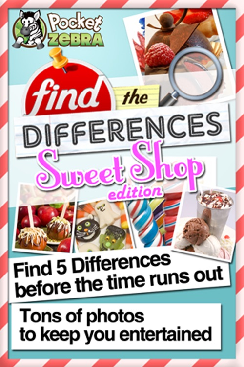 Find the Differences - Sweet Candy Shop & Cupcakes Birthday Deserts Photo Difference Edition Free Game for Kids