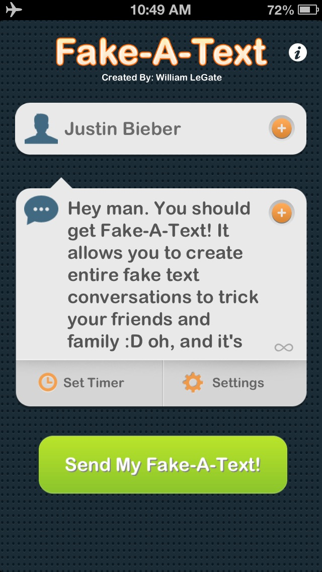 Fake-A-Text FREE [Fake Text Free & Fake A Call—Call It A Prank Conversation] Screenshot