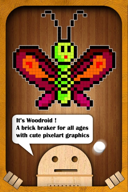 Woodroid HD+: Pixelart brick breaker
