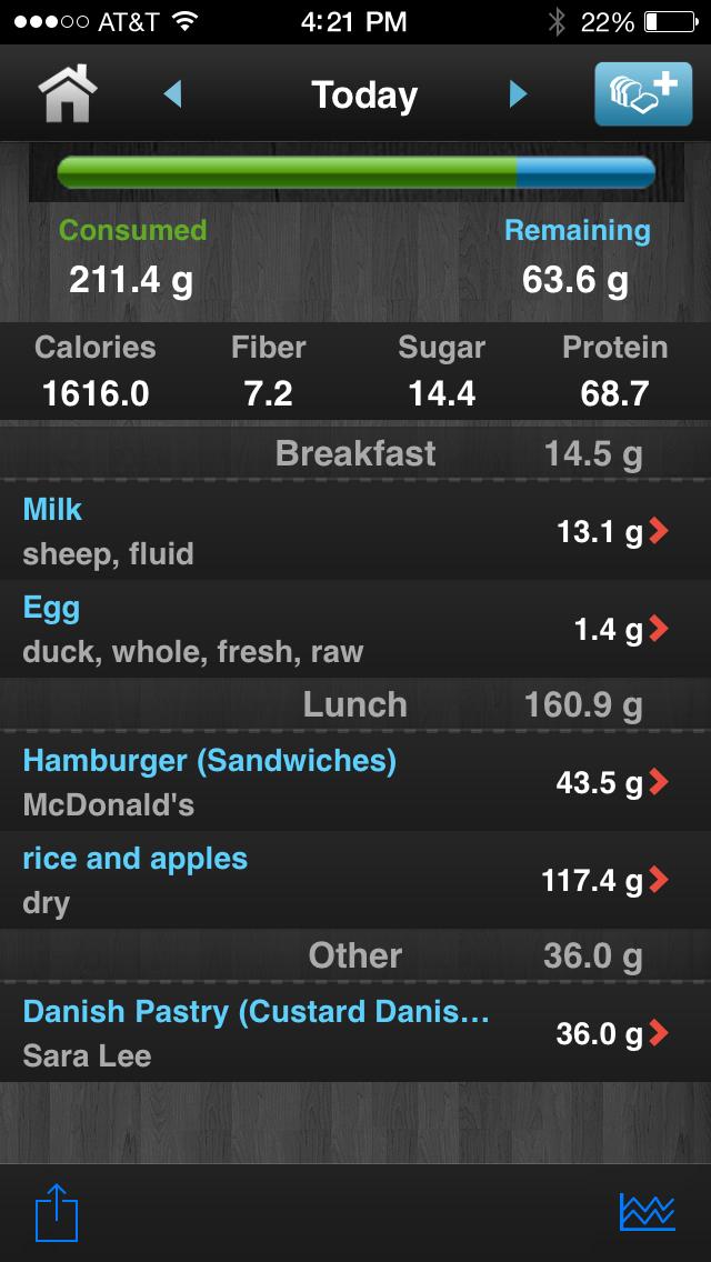 Diabetes App Lite - blood sugar control, glucose tracker and carb counter Screenshot
