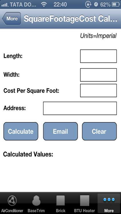 Square Footage Cost Calculator