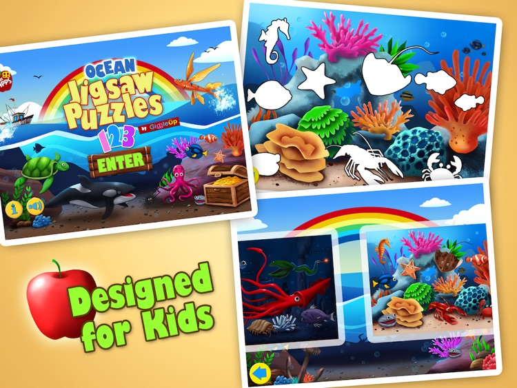 Ocean Jigsaw Puzzle 123 for iPad - Word Learning Puzzle Game for Kids screenshot-3
