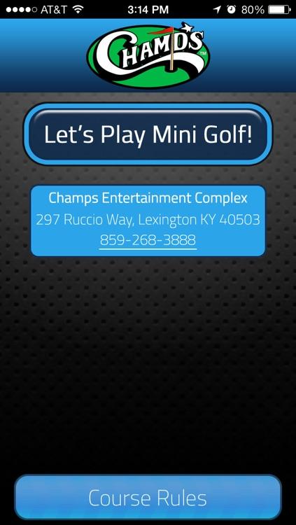 Champs Entertainment Complex Mini Golf Scorecard