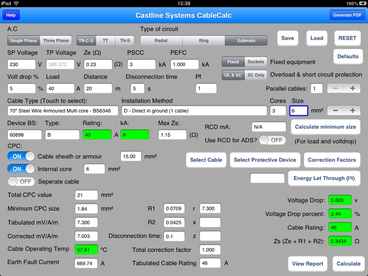 Cablecalc Bs7671 By Castline Systems