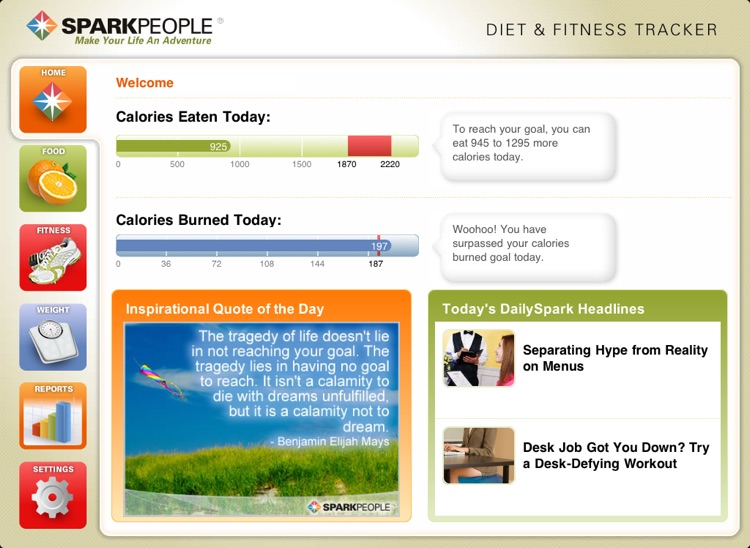 Diet & Fitness Tracker for iPad - SparkPeople screenshot-0