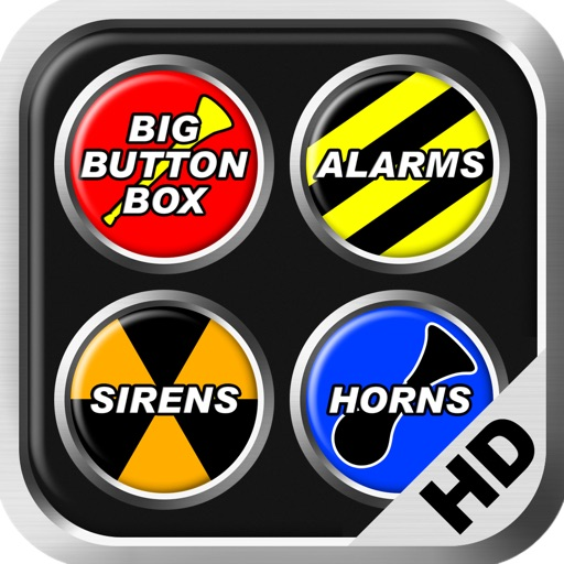 Big Button Box: Alarms, Sirens & Horns HD - police siren sounds, annoying noises, smoke alarm noise, fog air horn effect, cop car beep, airhorn, fire truck, ambulance & train sound effects