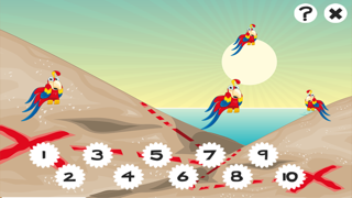 兒童遊戲2-5歲對海景的海盜:學會數數1-10幼兒園,學前班或幼兒園與海盜,船長,鸚鵡,百寶箱,鱷魚和船舶屏幕截圖3