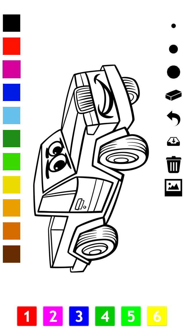 塗り絵の本 子供のための車:レーシングカー、バス、トラクター、トラックなどのような多くの写真とともに。絵を描画する方法:学習するゲームのおすすめ画像3
