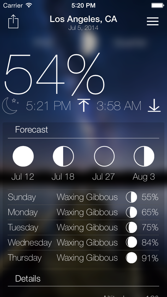 Lunar Live - Moon Weather Forecast | App Price Drops