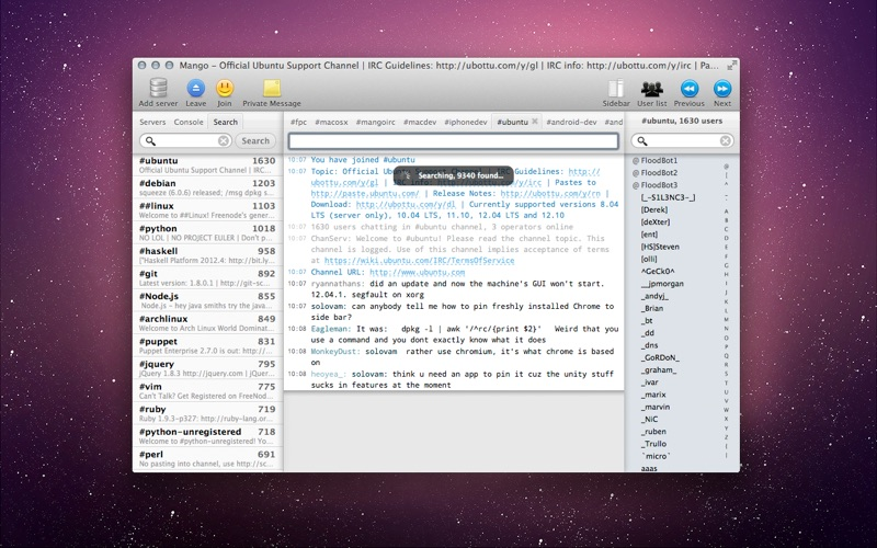 Mango IRC - Chat client скриншот программы 3
