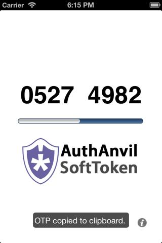 Screenshot of AuthAnvil SoftToken