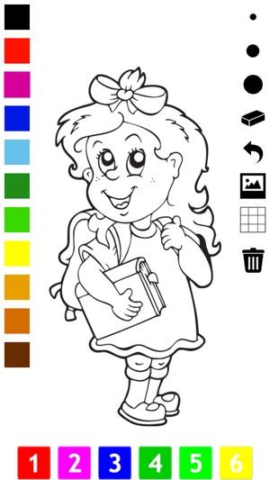 Boyama Kitabı çocuklar Için Okul Bir Kız Kalem Kalem Kutusu