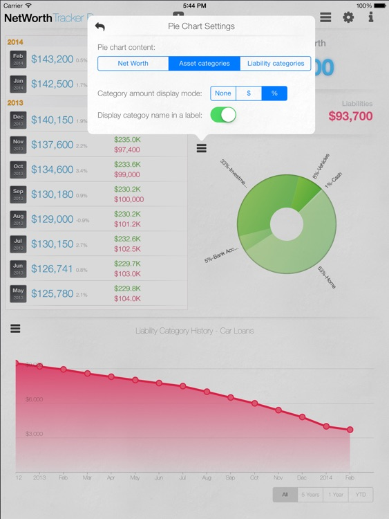 Net Worth Tracker Pro - with Asset and Liability Categories