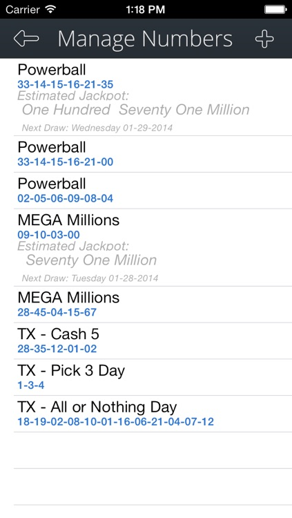 LottoNumbers, Winning USA Lottery Result Numbers - Powerball, MegaMillions, Lotto and more screenshot-3