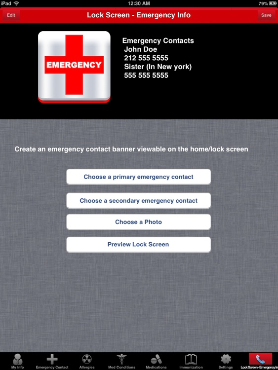 ICE for iPad (In Case of Emergency Info)