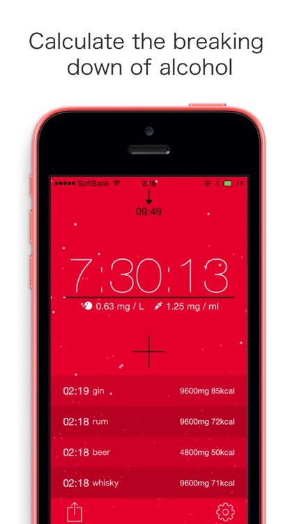alcCalc: Estimates and Displays the Alcohol Decomposition, the Time You'll Sober Up and the BAC in Realtime.