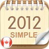 2012 Canada Calendar : Simple