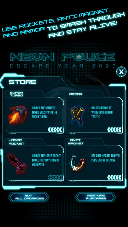 A Neon Police Escape Chase Future Sprint Battle Free Version HD screenshot-3