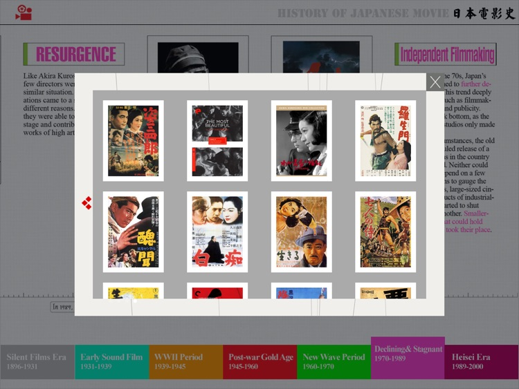 A History of Japanese Cinema -An Interactive Timeline screenshot-3