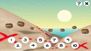 兒童遊戲2-5歲對海景的海盜:學會數數1-10幼兒園,學前班或幼兒園與海盜,船長,鸚鵡,百寶箱,鱷魚和船舶屏幕截圖4