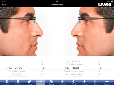 uvex RX App – guidance tool for uvex prescription safety spectacles screenshot three