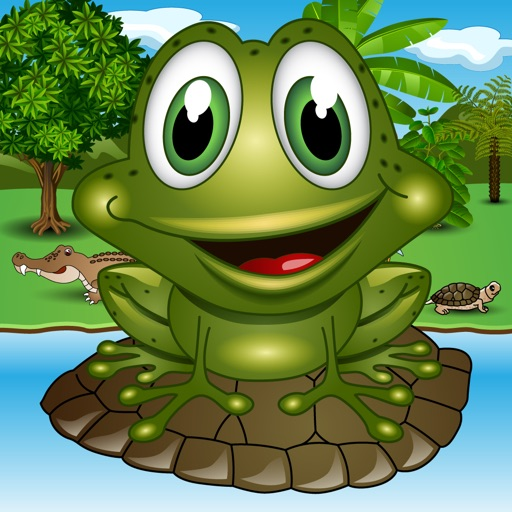 JFrog: A Frog in a Bog. Not a Tadpole. Not a Toad. It's a Super Frog, Bog's King. Jump through Turtles and Leafs. iOS App