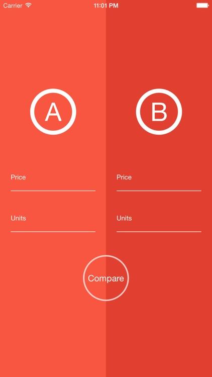 uPrice - elegant unit price calculator and comparison app