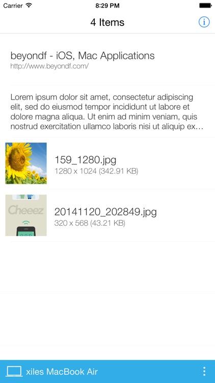AirBridge - Transfer image/photo, text or URL