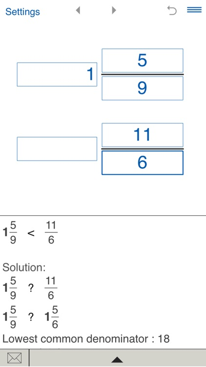Compare fractions calculator
