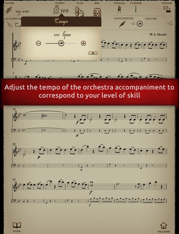 Play Mozart – Symphony No. 40 in G minor – 1st movement Molto allegro (interactive violin sheet music)