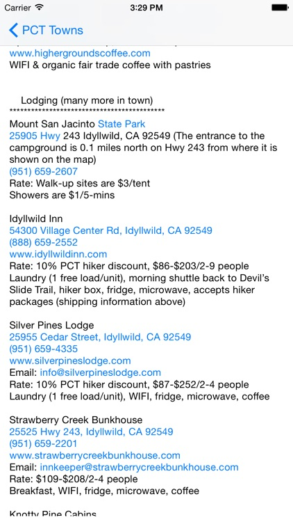 Pacific Crest Trail SoCal Towns