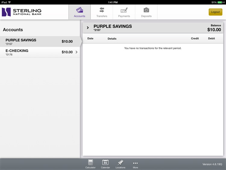 Personal Mobile Banking for iPad