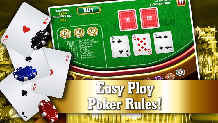 Monte Carlo Poker FREE - VIP High Rank 5 Card Casino Game