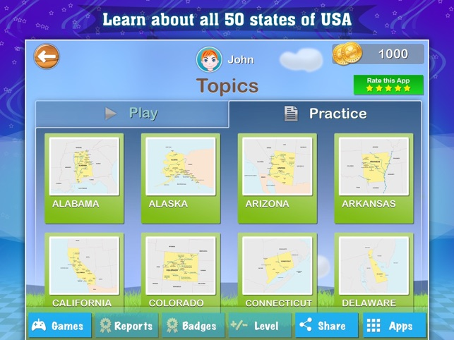 Geography Of The United States Of America Map Learning And Quiz - Us map games for ipad