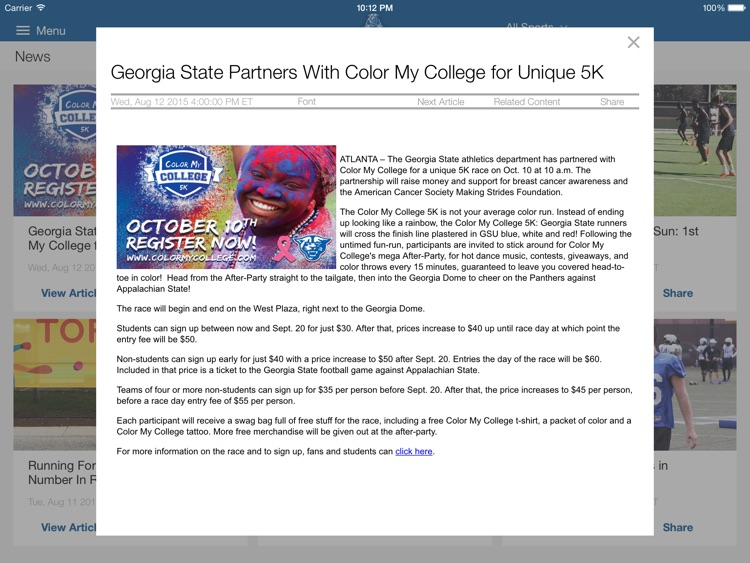 Georgia State Panthers for iPad 2015 screenshot-3