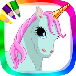 Unicorns and ponies drawings to paint and coloring book on the App