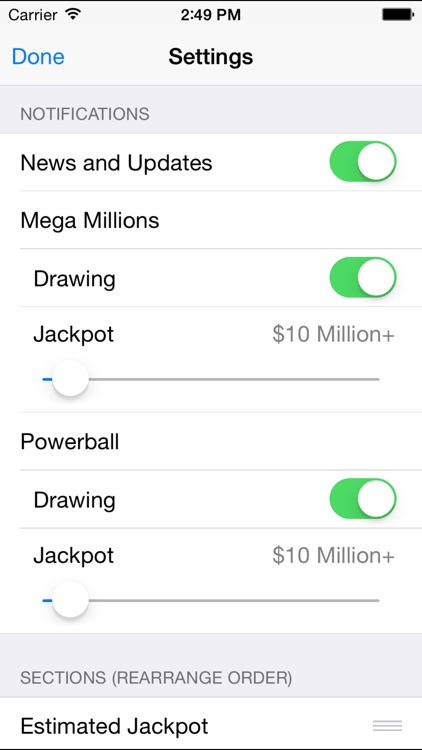 Mega Millions & Powerball - lottery games in the US with winning number results, lotto jackpots and prize payouts screenshot-4