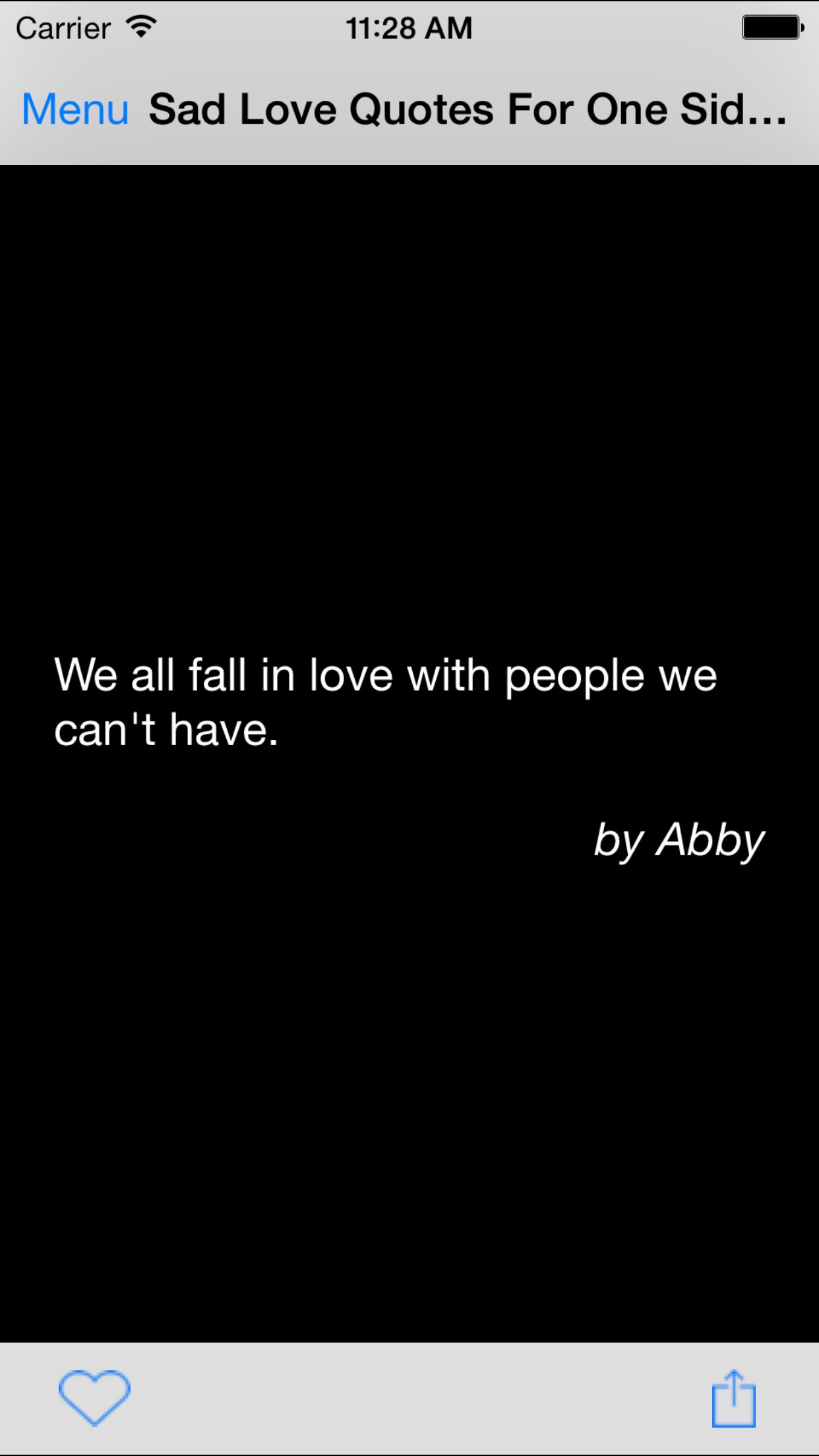 Sad Love Quotes For One Sided Love Screenshot