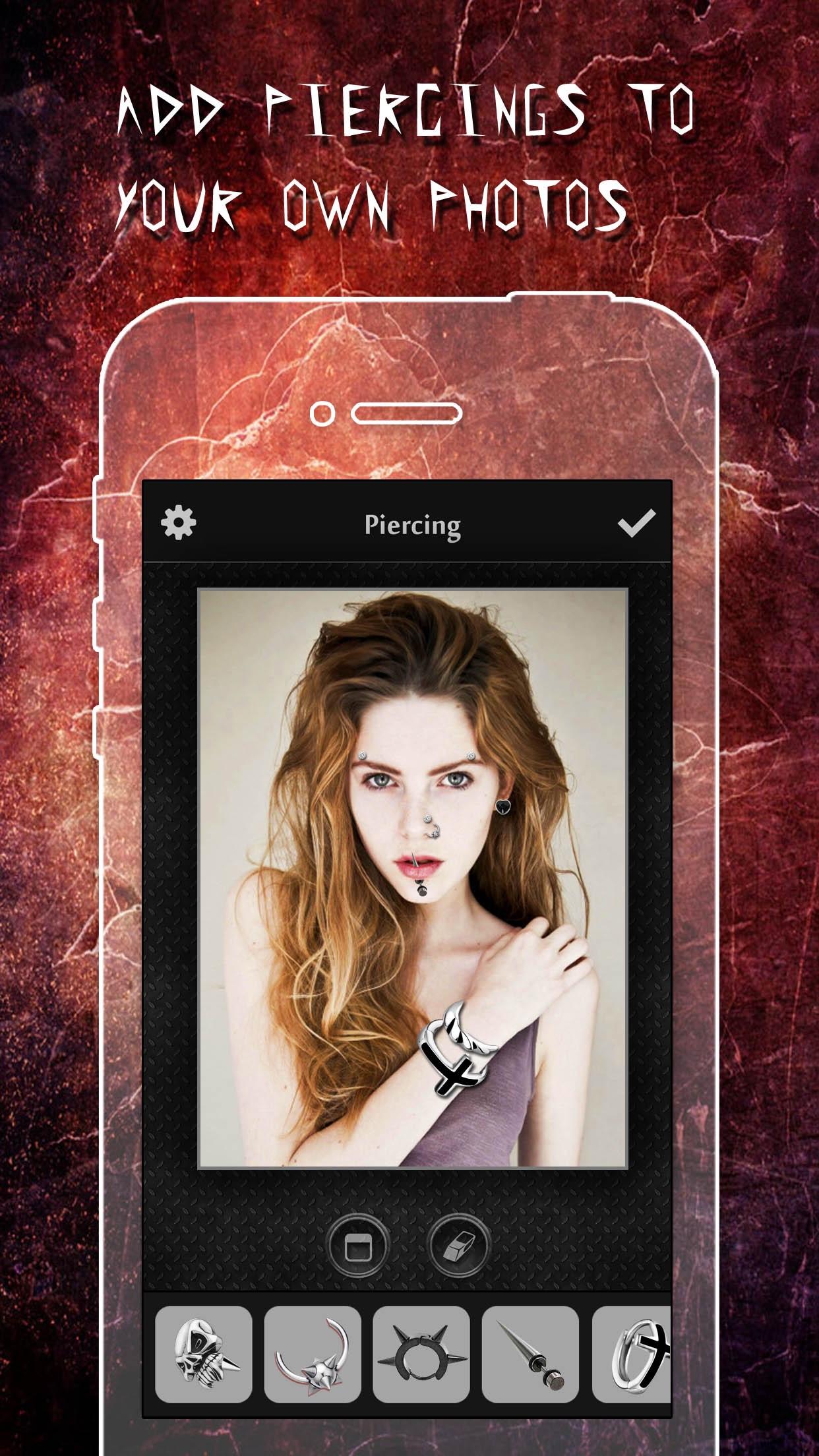 Piercing & Tattoo Booth FREE - Add Virtual Piercings & Tattoos to make body art inked or pierced Screenshot