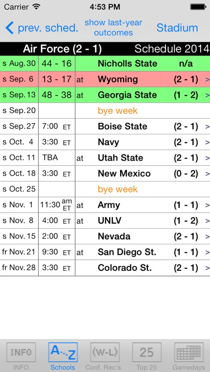 Gridiron 2015 College Football Live Scores and Schedules screenshot-1