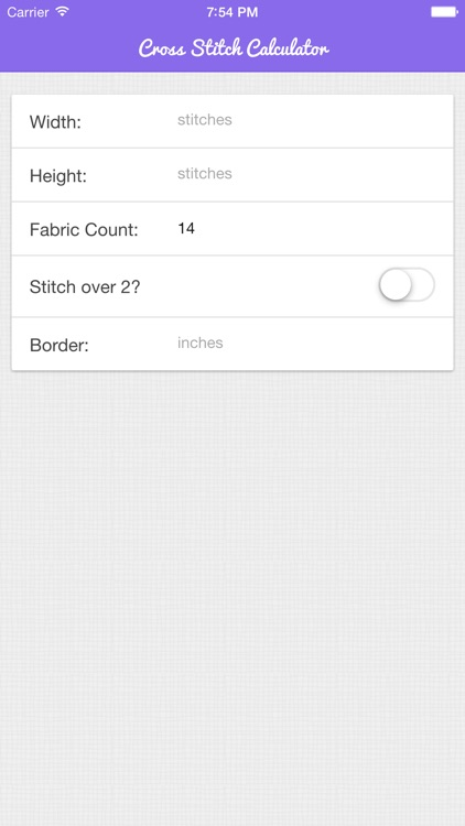 Cross Stitch Fabric Calculator Plus