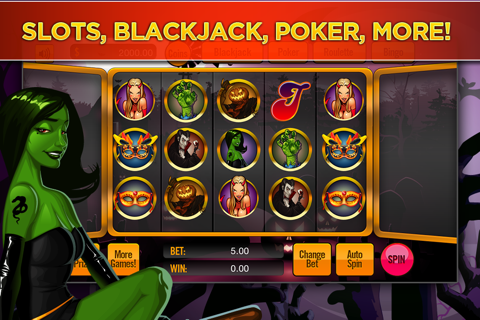 The Halloween Witch Girl's Hot Sexy Slot Casino - Haunted Pumpkin Slots Mania screenshot 2