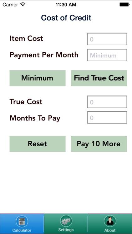 Cost of Credit Calculator
