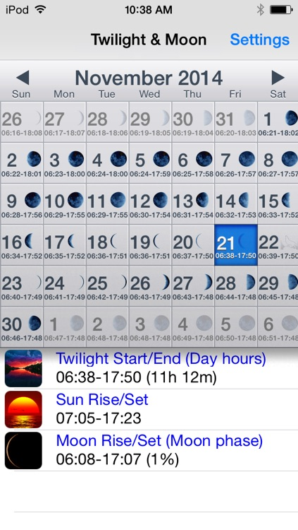 Twilight & Moon Calendar