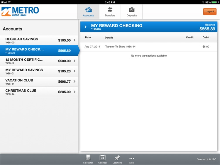 Metro Credit Union for iPad screenshot-2