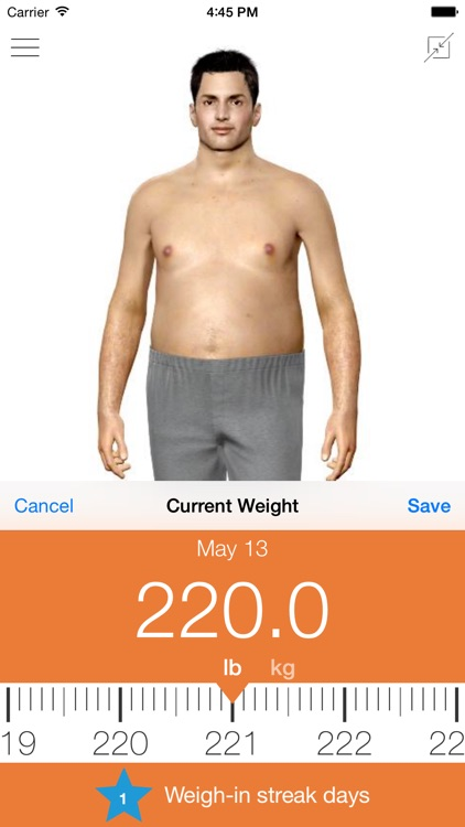 Model My Diet - Men - Weight Loss Motivation with Virtual Model Simulation